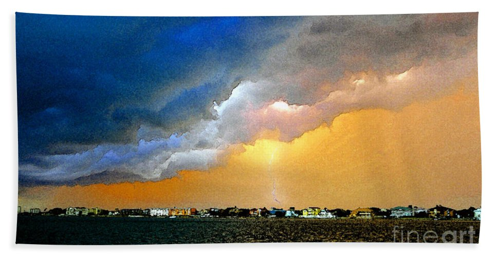 Lightning Hand Towel featuring the painting Lightning Bolt by David Lee Thompson