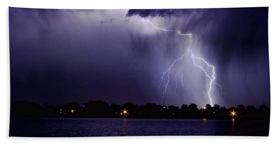 Lightning Bath Sheet featuring the photograph Lightning Bolt Energy Color by James BO Insogna