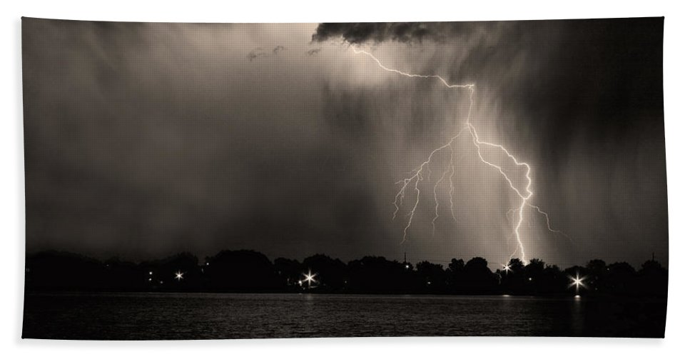 Lightning Hand Towel featuring the photograph Lightning Energy Poster Print by James BO Insogna
