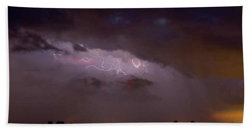 Lightning Hand Towel featuring the photograph Lightning In The Sky by James BO Insogna