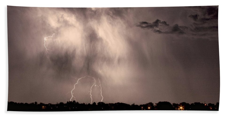 Lightning Hand Towel featuring the photograph Lightning Man by James BO Insogna