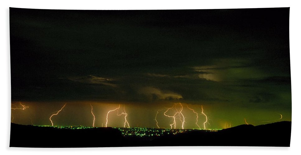 Weather Bath Sheet featuring the photograph Lightning Over Denver by Jerry McElroy