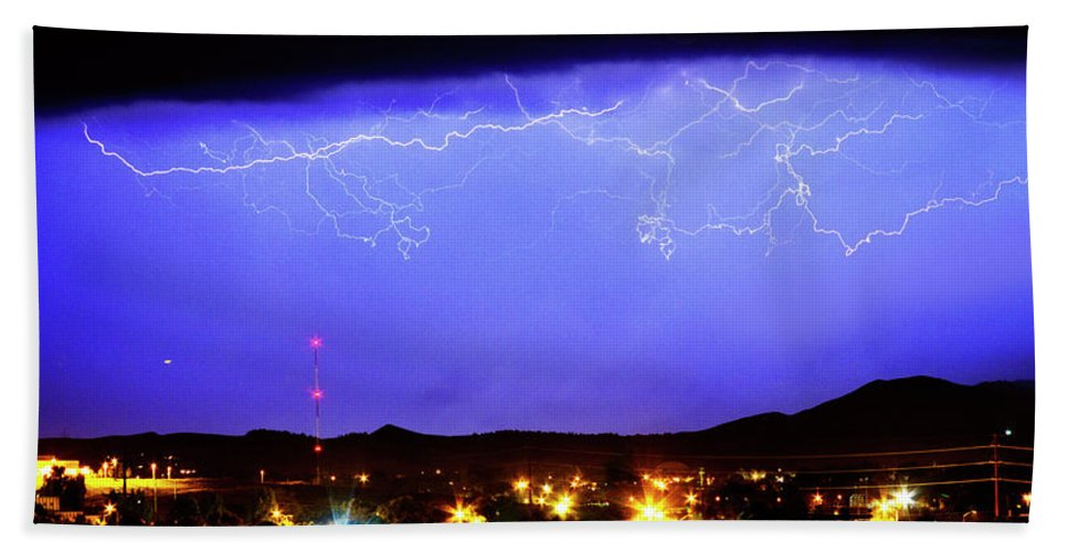 Loveland Bath Sheet featuring the photograph Lightning Over Loveland Colorado Foothills Panorama by James BO Insogna