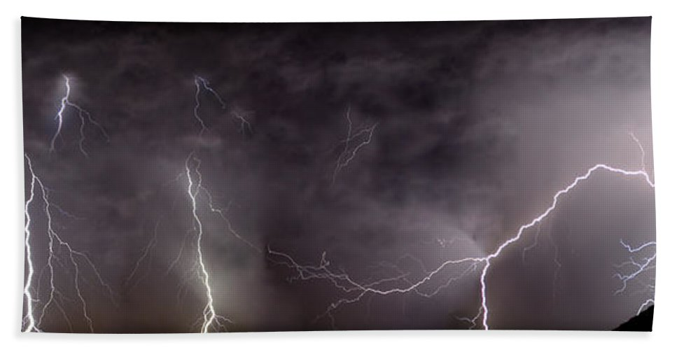 Lightning Bath Towel featuring the photograph Lightning Over Perris by Anthony Jones