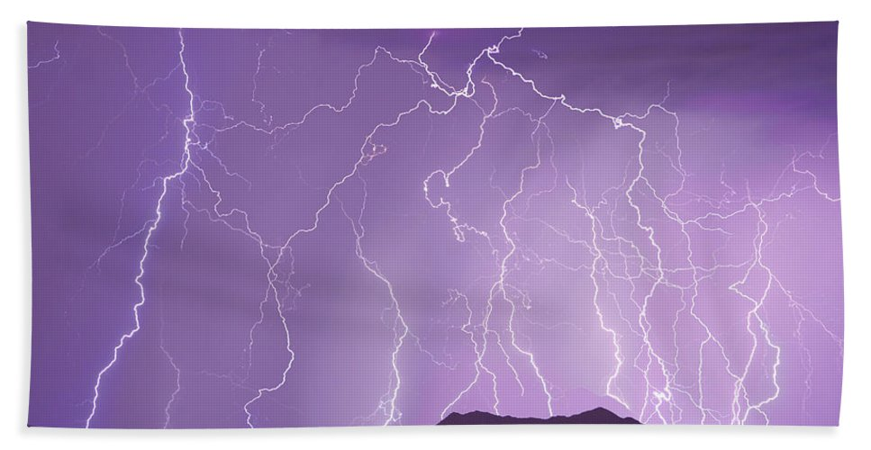 Lightning Hand Towel featuring the photograph Lightning Over The Mountains by James BO Insogna