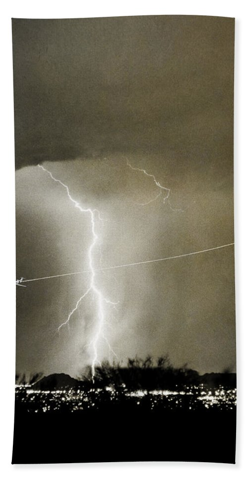 Lightning Hand Towel featuring the photograph Lightning Storm City Lights Jet Airplane Fine Art Photography by James BO Insogna