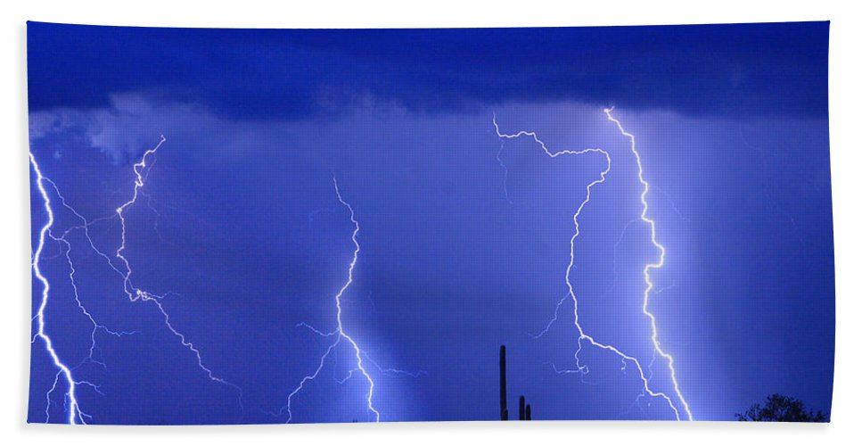 Lightning Hand Towel featuring the photograph Lightning Storm In The Desert Fine Art Photography Print by James BO Insogna