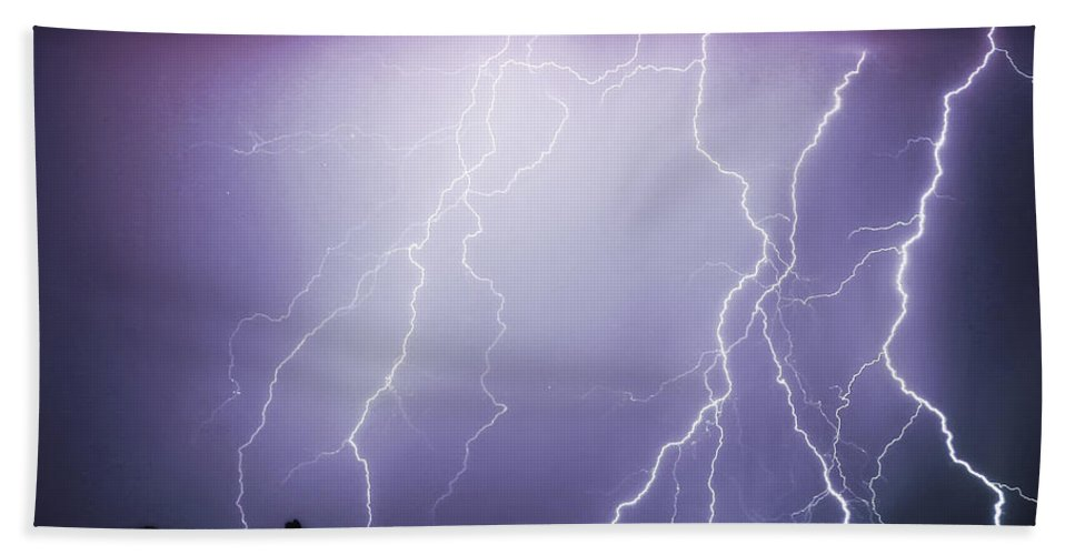 Insogna Bath Sheet featuring the photograph Lightning Storm North Scottsdale Az 85255 by James BO Insogna
