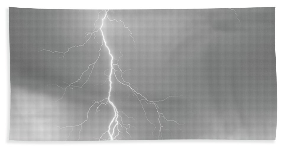 July Bath Sheet featuring the photograph Lightning Strike Colorado Rocky Mountain Foothills Bw by James BO Insogna