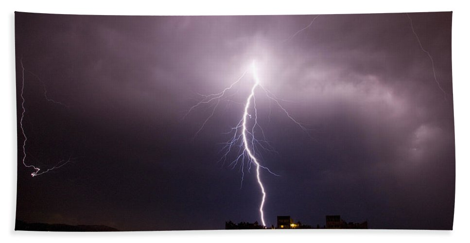 Weather Bath Sheet featuring the photograph Lightning Strike by Ian Middleton