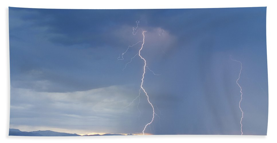 July Bath Sheet featuring the photograph Lightning Striking At Sunset Rocky Mountain Foothills by James BO Insogna
