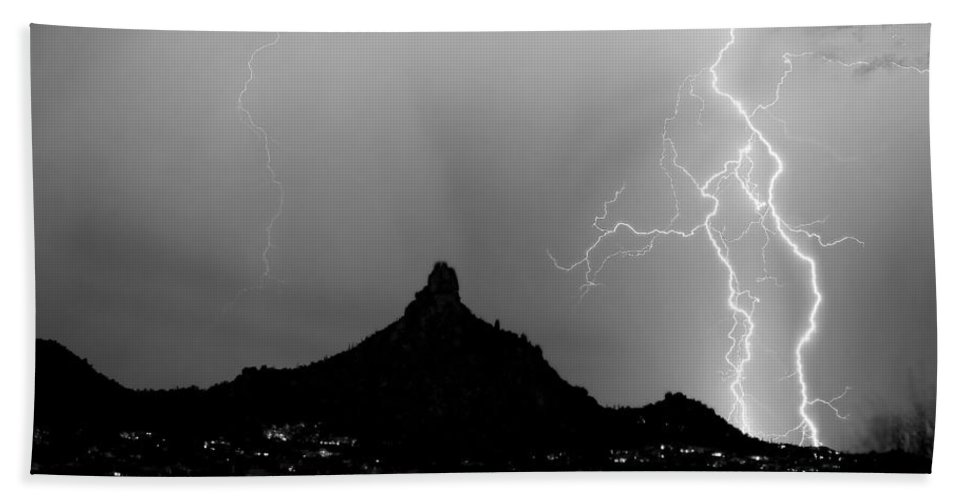 Pinnacle Peak Hand Towel featuring the photograph Lightning Thunderstorm At Pinnacle Peak Bw by James BO Insogna
