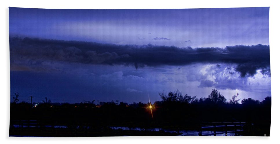 Bouldercounty Bath Sheet featuring the photograph Lightning Thunderstorm July 12 2011 St Vrain by James BO Insogna