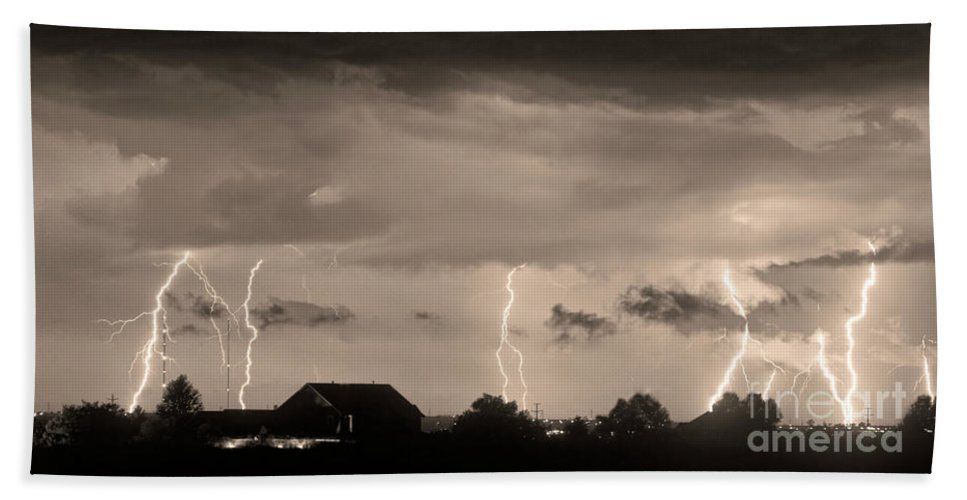 Bouldercounty Bath Sheet featuring the photograph Lightning Thunderstorm July 12 2011 Strikes Over The City Sepia by James BO Insogna