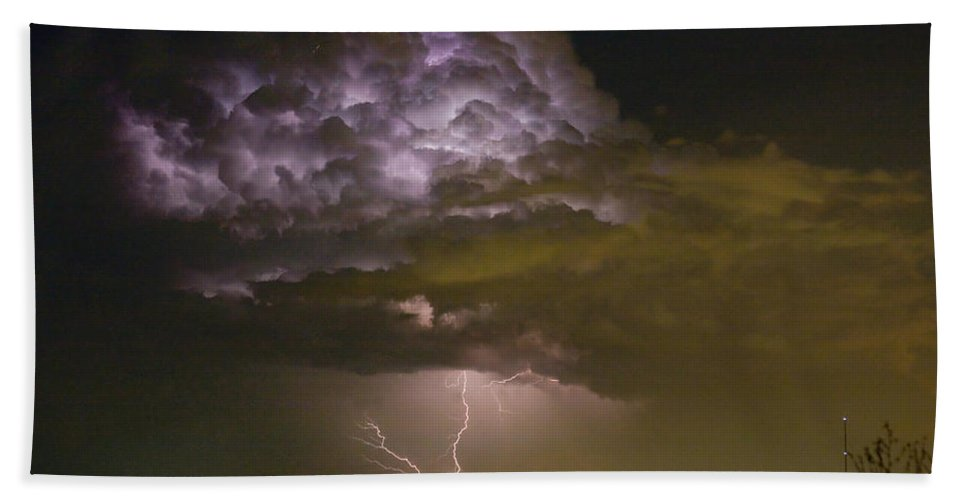 Striking Hand Towel featuring the photograph Lightning Thunderstorm With A Hook by James BO Insogna