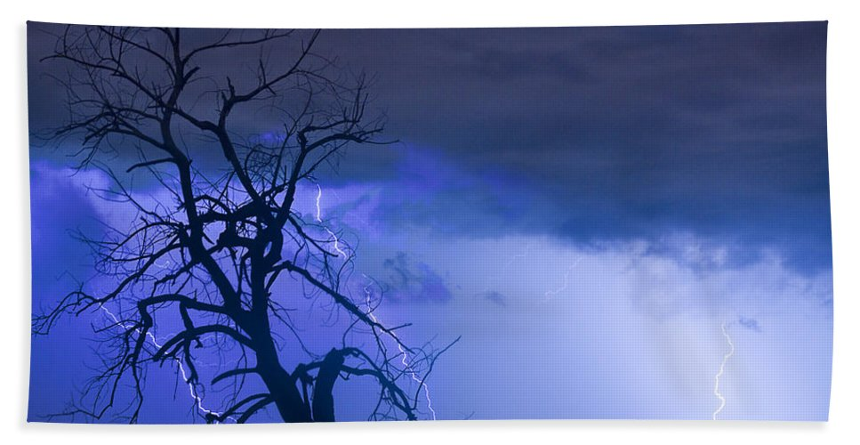 Tree Bath Sheet featuring the photograph Lightning Tree Silhouette 38 by James BO Insogna