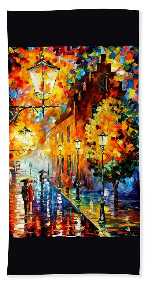 Afremov Bath Sheet featuring the painting Lights In The Night by Leonid Afremov