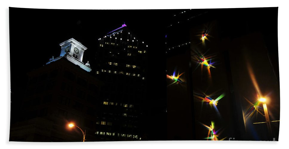 Night Lights Hand Towel featuring the photograph Lights On Tampa by David Lee Thompson