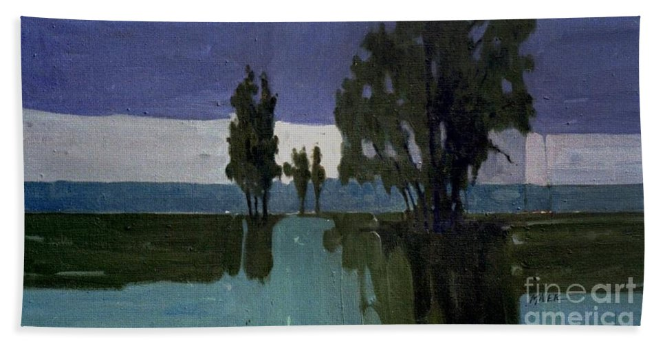 Nocturne Hand Towel featuring the painting Lights On The Horizon by Donald Maier