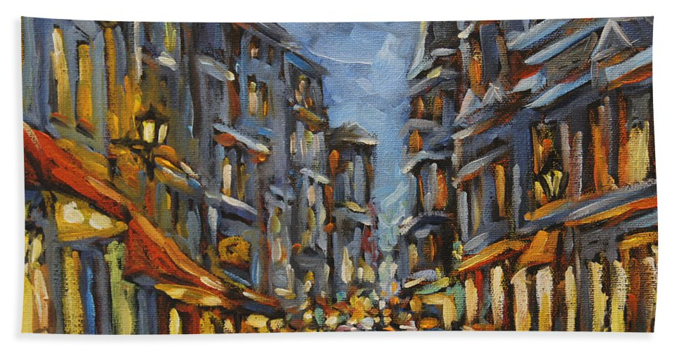 Art Hand Towel featuring the painting Lights Up After Dusk by Richard T Pranke