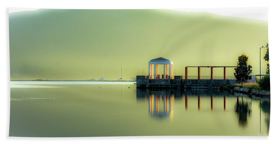 Landscape. Sea. Reflections. Bath Sheet featuring the photograph Like A Dream by Yau Ming Low