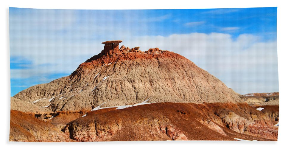 Badlands Bath Sheet featuring the photograph Like A Mound Of Prehistoric Mud by Jeff Swan