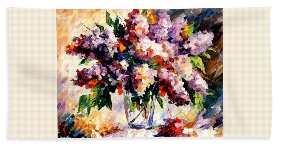 Afremov Bath Sheet featuring the painting Lilac - Morning Mood by Leonid Afremov