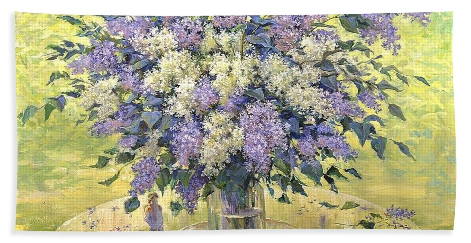 Flowers Hand Towel featuring the painting Lilac by Aleksandr Zinovev