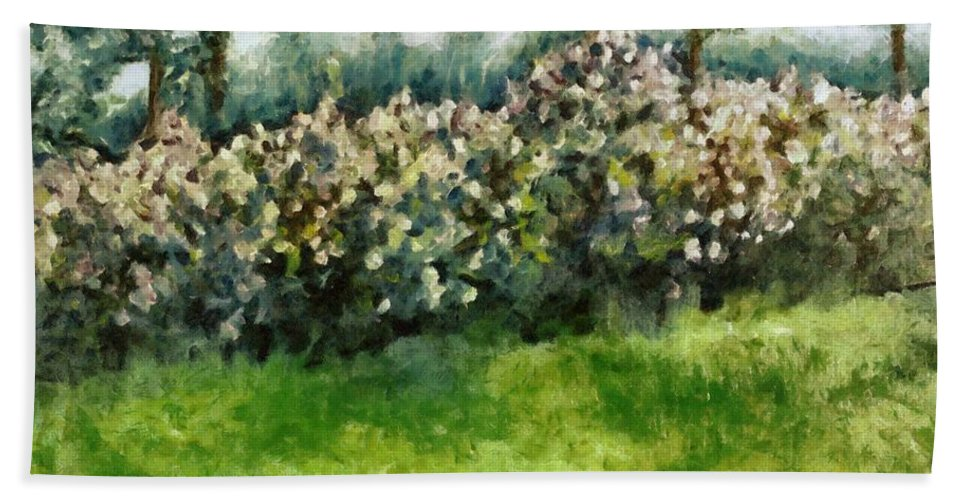 Spring Hand Towel featuring the painting Lilac Bushes In Springtime by Michelle Calkins