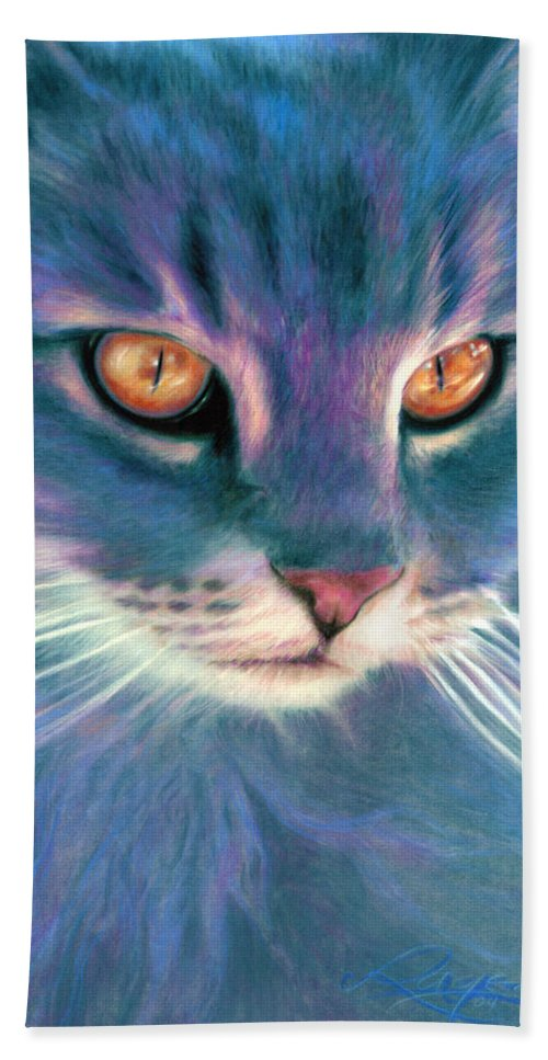 Cat Bath Sheet featuring the painting Lilac Cat by Ragen Mendenhall