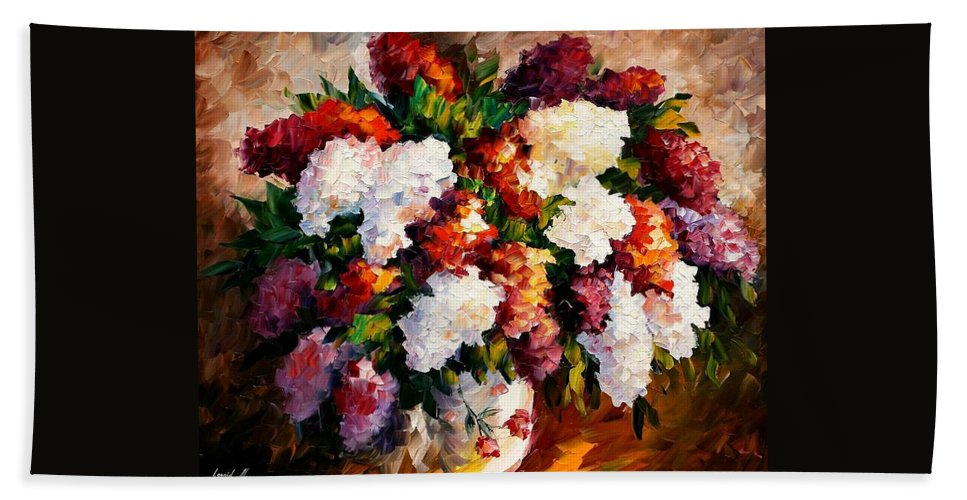 Afremov Bath Sheet featuring the painting Lilac For My Beloved by Leonid Afremov