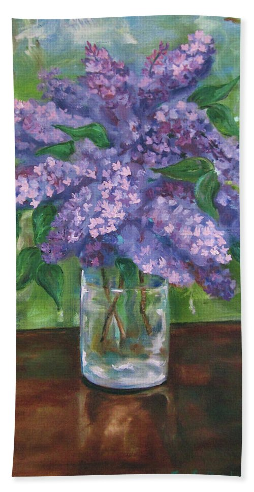 Lilacs Hand Towel featuring the painting Lilacs by Jennifer Christenson