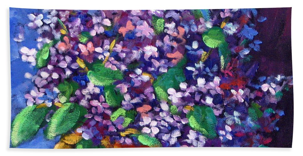 Art Bath Towel featuring the painting Lilacs by Richard T Pranke