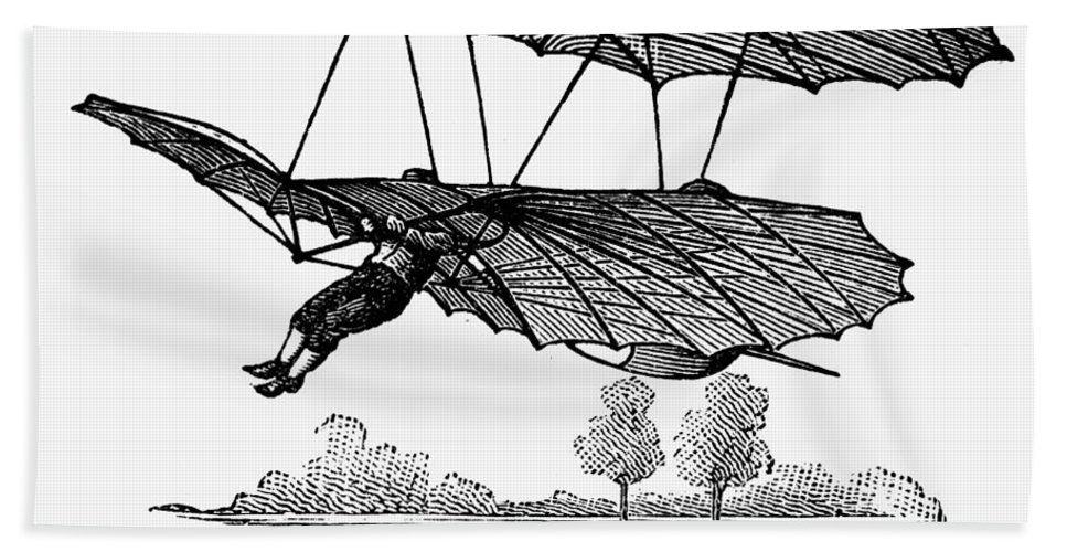 1895 Hand Towel featuring the photograph Lilienthal Glider, 1895 by Granger