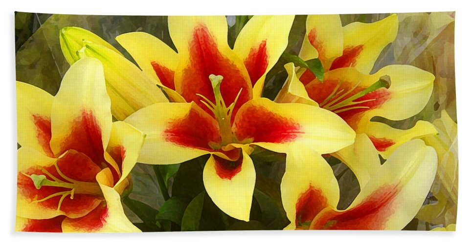 Spring Bath Sheet featuring the painting Lilies by Amy Vangsgard