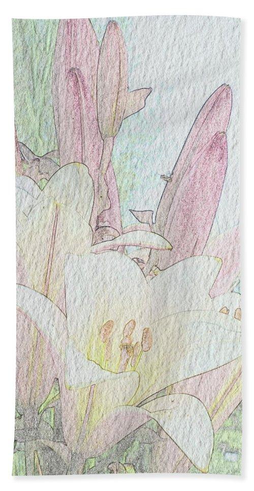 Gerlya Sunshine Hand Towel featuring the photograph Lilies. Flowers And Buds. by Gerlya Sunshine