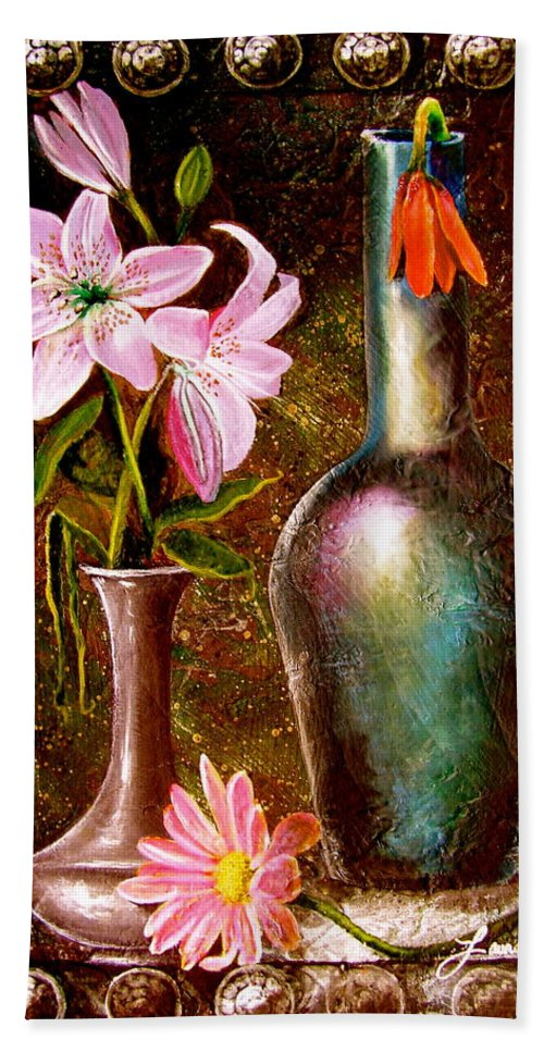 Painting Bath Sheet featuring the painting Lilies by Laura Pierre-Louis