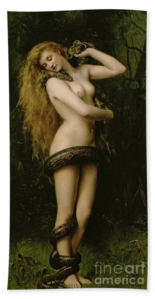 Nude; Female; Snake; Long Hair; Pre-raphaelite; Lilith Bath Towel featuring the painting Lilith by John Collier