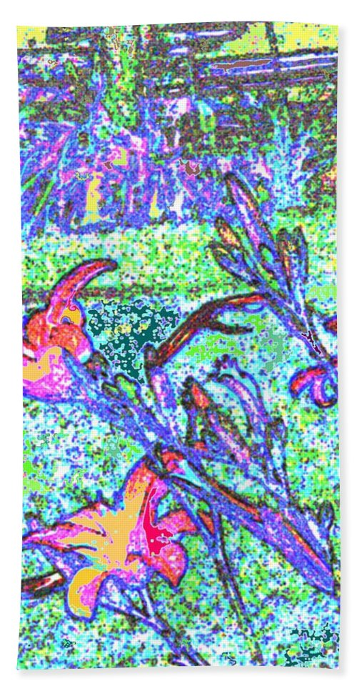 Abstract Bath Towel featuring the photograph Lillies by Ian MacDonald