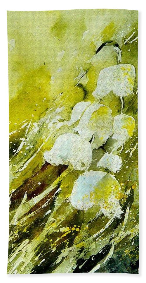 Flowers Hand Towel featuring the painting Lilly Of The Valley by Pol Ledent