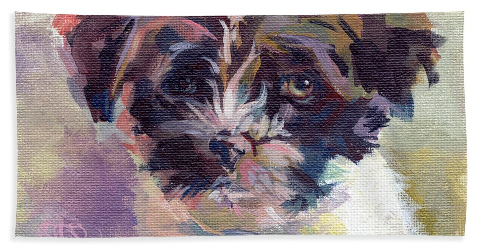 Havanese Hand Towel featuring the painting Lilly Pup by Kimberly Santini