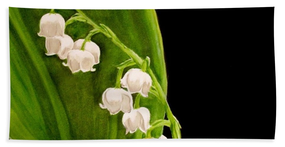 Lily Of The Valley Painting Bath Sheet featuring the painting Lily Of The Valley by Carol Blackhurst