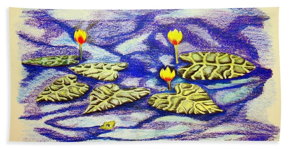 Stationery Card Hand Towel featuring the drawing Lily Pad Pond by J R Seymour