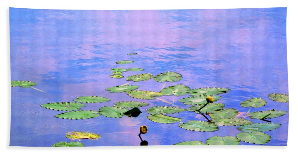 Water Hand Towel featuring the photograph Laying Low Like A Lily Pond by Sybil Staples