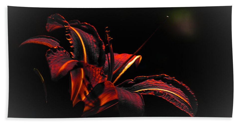 Elegance Hand Towel featuring the digital art Lily Red-black by Max Steinwald