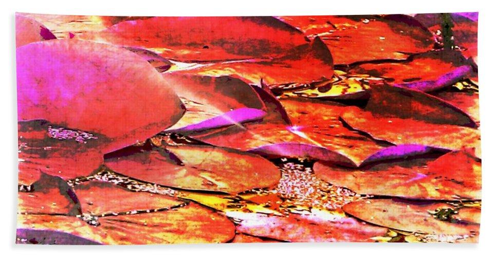 Lilypads Hand Towel featuring the photograph Crimson Lilypads Floating.. by Jolanta Anna Karolska