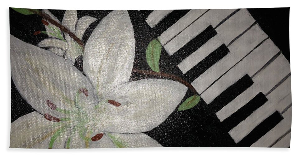 Hand Towel featuring the painting Lily's Piano by Cynthia Williams
