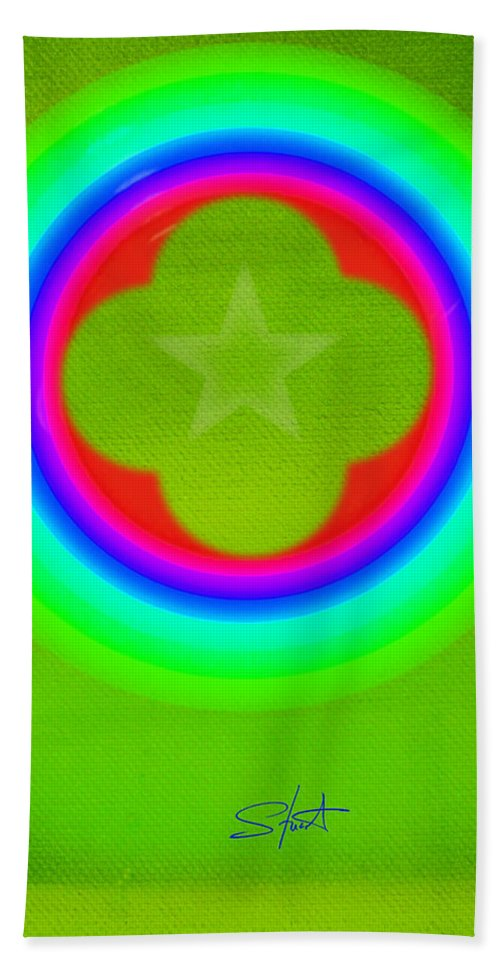 Abstract Bath Towel featuring the painting Lime by Charles Stuart