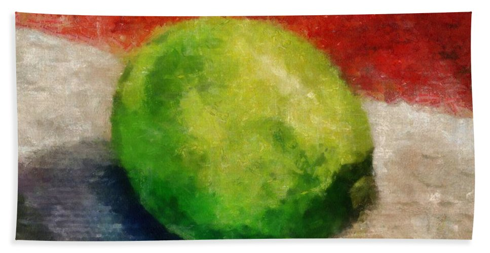 Lime Bath Towel featuring the painting Lime Still Life by Michelle Calkins
