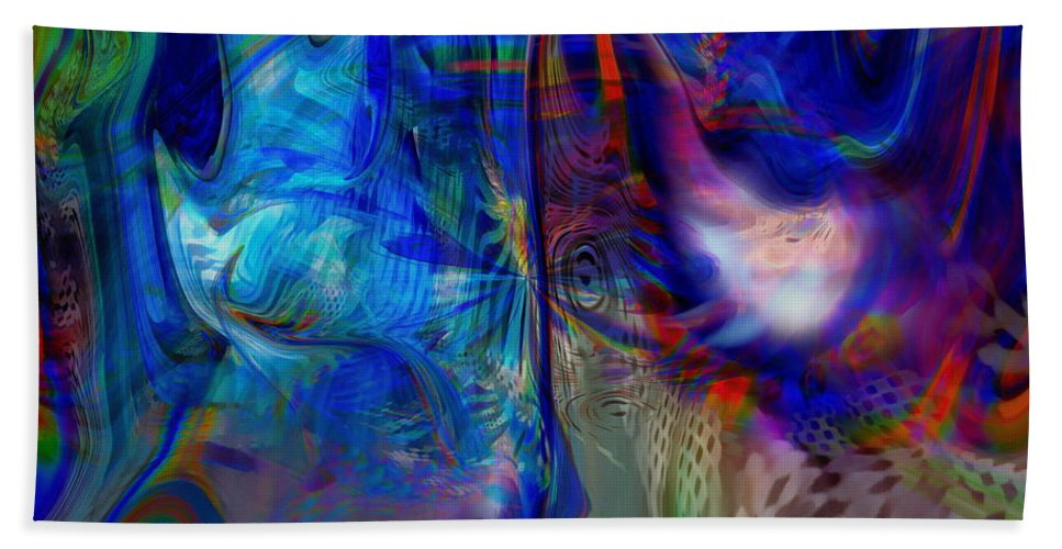 Abstract Hand Towel featuring the digital art Limelight by Linda Sannuti